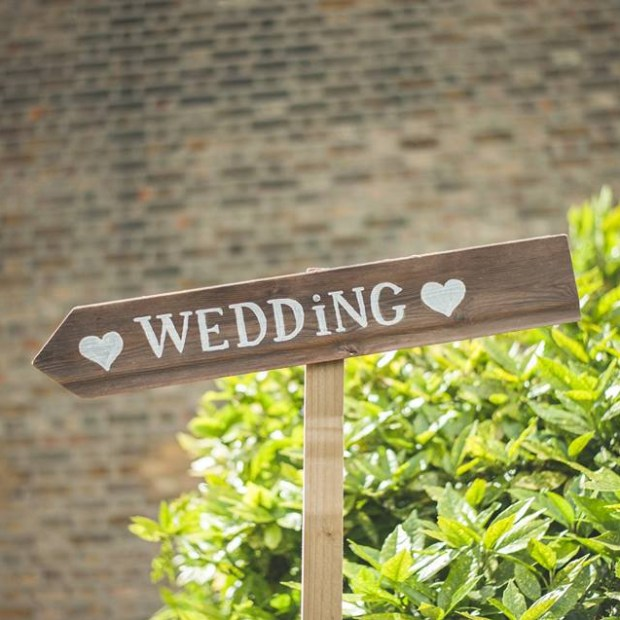 Wedding signpost handmade of wood