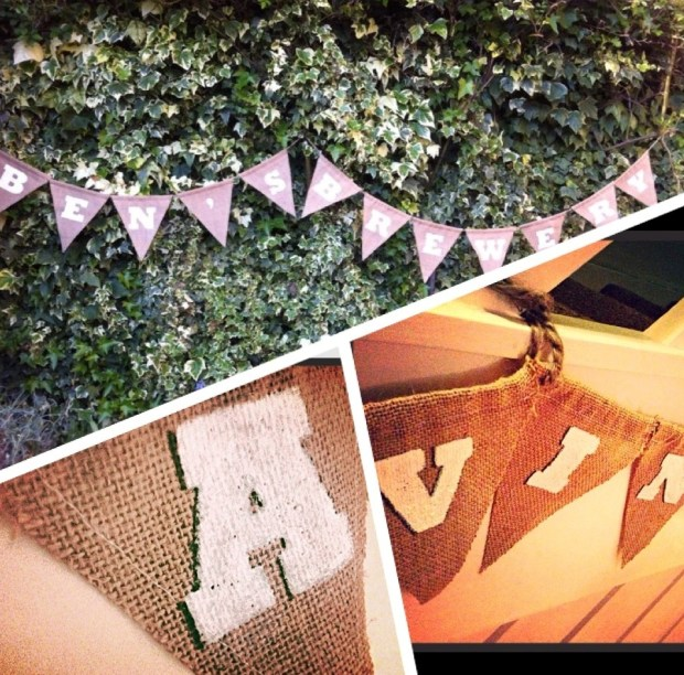 Personalised hessian bunting