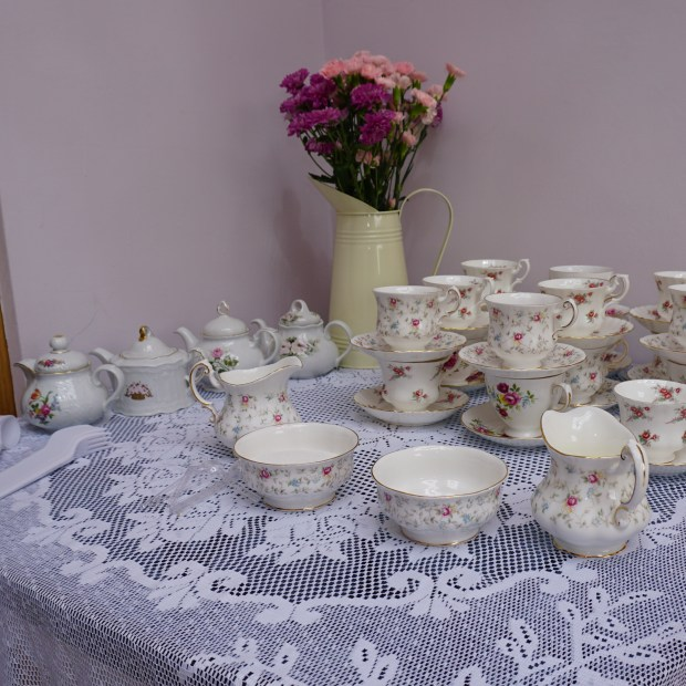 afternoon tea set tea cups sugar bowls and tea pots