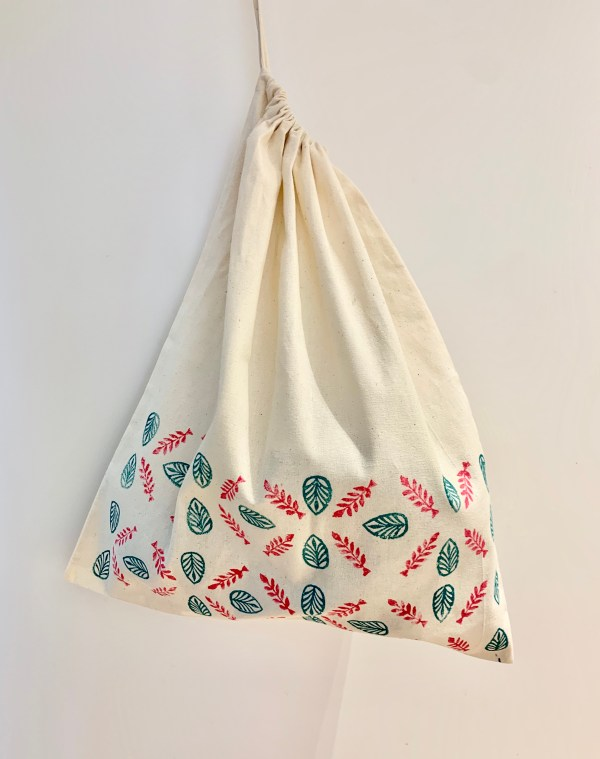 Block printed drawstring bag