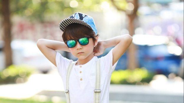 Boy wearing IE9011 Black frame with Revo mirror lens
