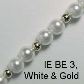 IE BE 3 - White Pearl & Gold Bead chain
