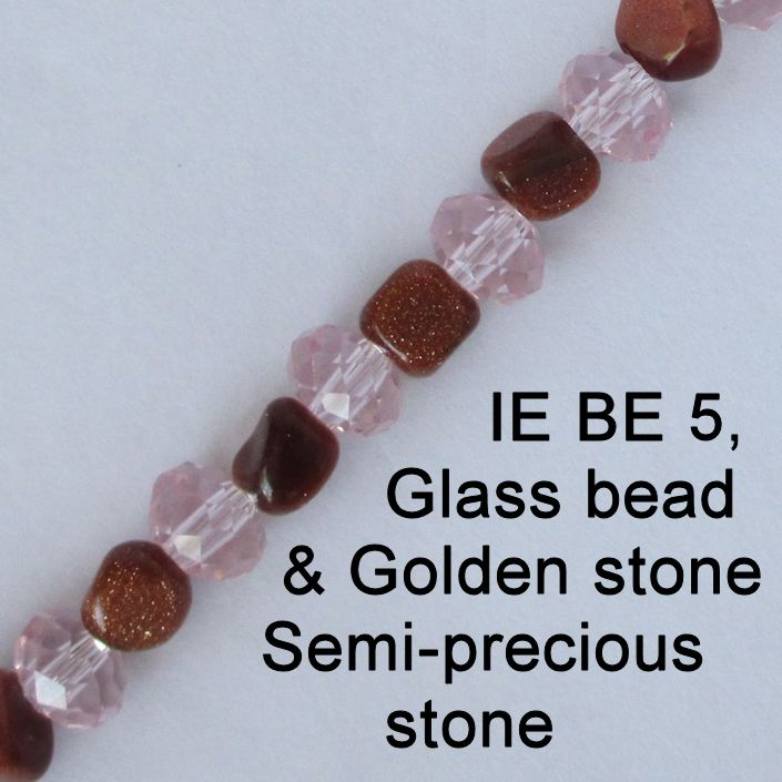 IE BE 5 - Golden stone and glass bead chain