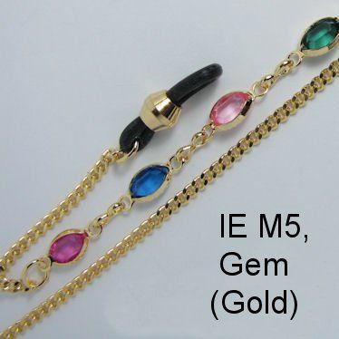 IE M5 - Gold metal chain and Gem