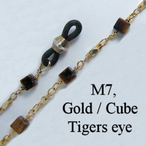 IE M7 - Metal chain, Gold and Cube tigers eye stone