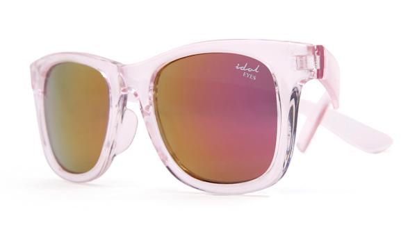 Kids I - IE9011, Crystal pink frame kids sunglasses with Revo mirror lens