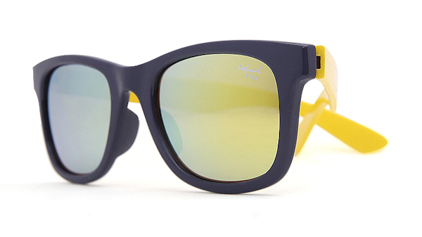 Kids I - IE9011, Navy & yellow frame kids sunglasses with Revo mirror lens