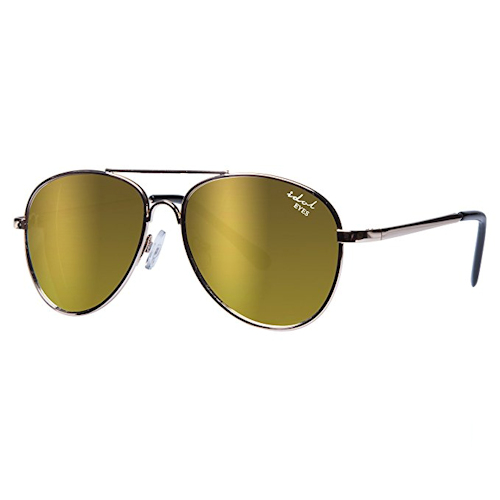 Kids I - IE68038, Gold frame aviator kids sunglasses with Revo mirror lens