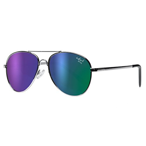 Kids I - IE68038, Silver frame aviator kids sunglasses with Revo mirror lens