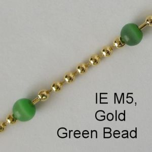 IE M5, Gold / Green stone spectacle chain