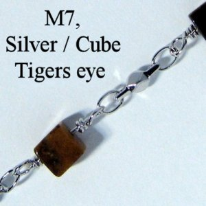 IE M7, Cube tigers eye / Silver spectacle chain