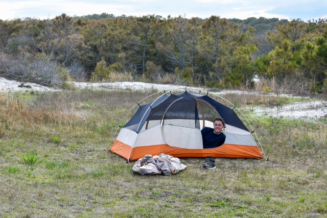 Camping on the grass at Assateague Island National Seashore