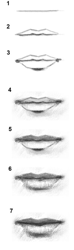 draw lips drawing mouth step tutorial digital