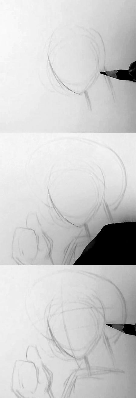draw luffy one piece step 1