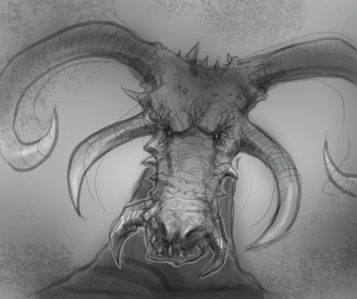 Drawing Horns Four Goat