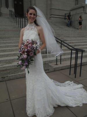 Dressed in white, dawned her wedding gown