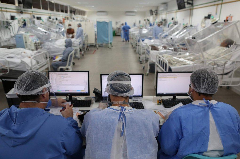 Une vue de l'unité de soins intensifs traitant des patients COVID-19 à l'hôpital Gilberto Novaes de Manaus, au Brésil, le 20 mai 2020 (Photo AFP)