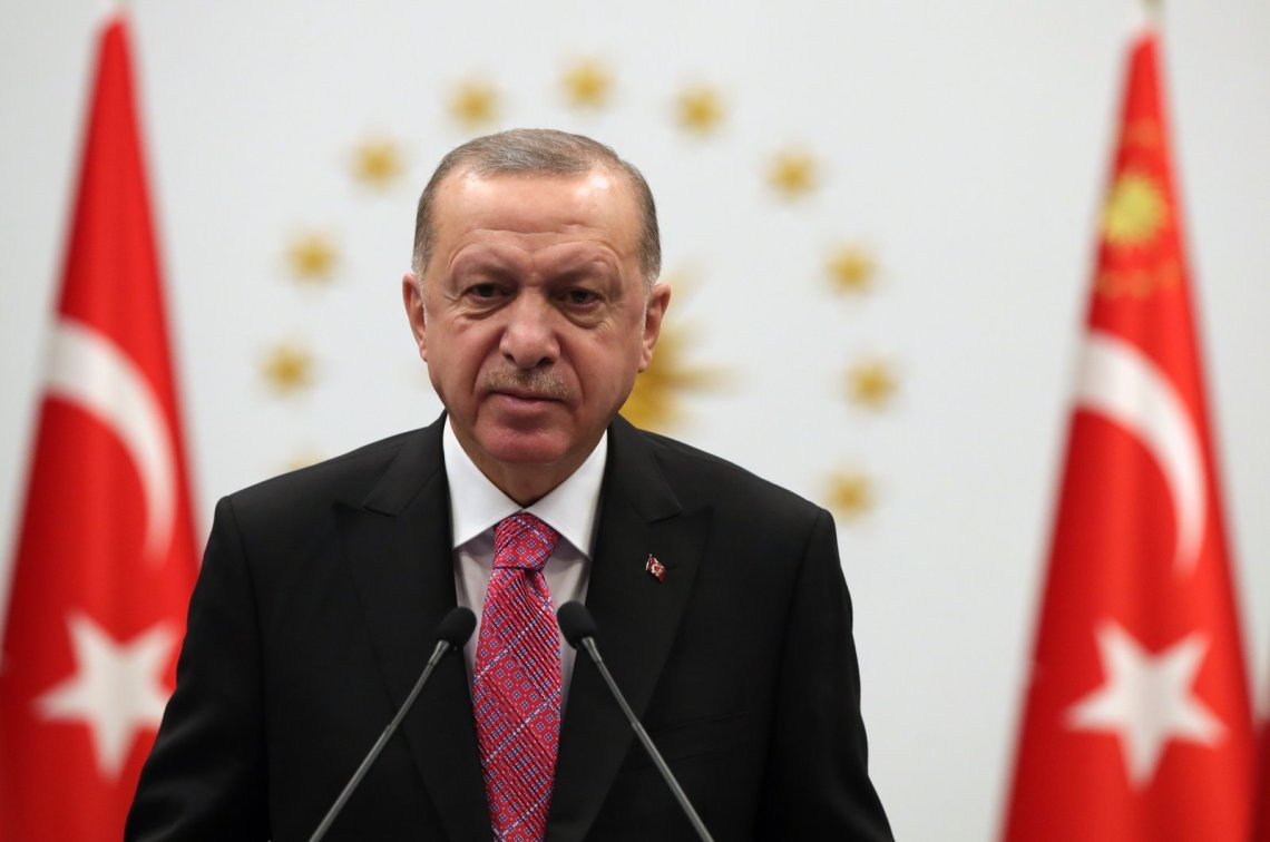 President Recep Tayyip Erdoğan speaks at the joint opening ceremony of museums in Konya, Tunceli and Bursa provinces via teleconference, Dec. 24, 2020. (DHA Photo)