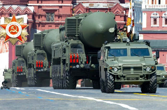 Russian RS-24 Yars ballistic missiles roll in Red Square during the Victory Day military parade marking the 75th anniversary of the Nazi defeat in Moscow, Russia, June 24, 2020. (AP Photo)