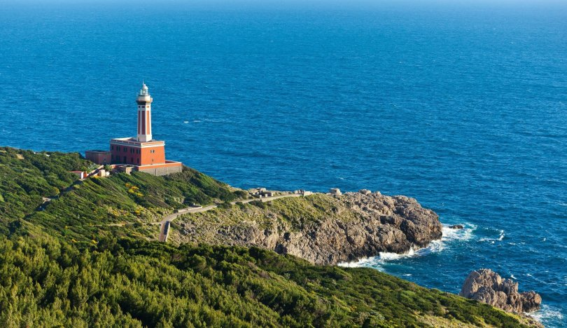 The Lighthouse named Faro di Punta Carena, stands in the Anacapri part of the island of Capri, Italy. (Shutterstock Photo)