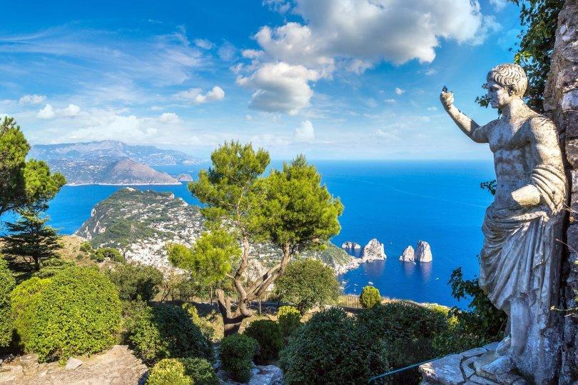 A statue overlooks the island of Capri, Italy. (Shutterstock Photo)