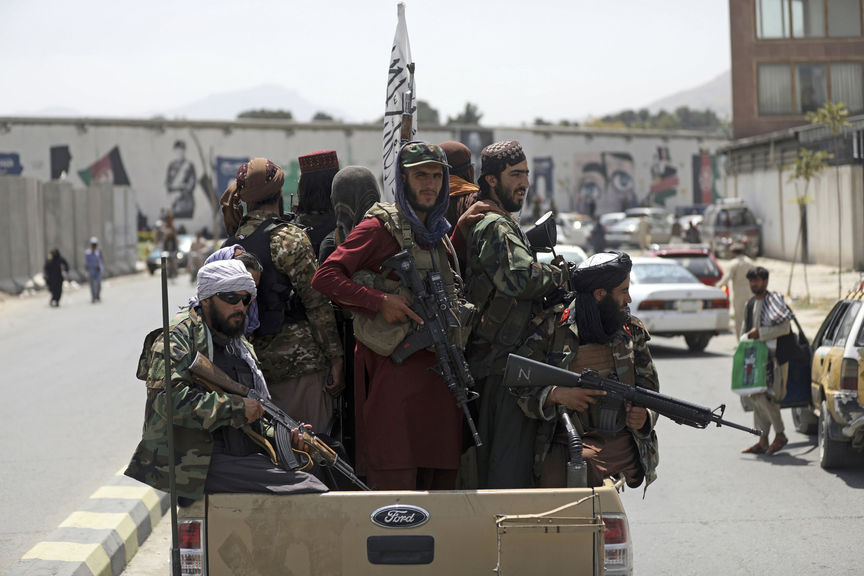 Taliban fighters on patrol in Kabul, Afghanistan, Aug. 19, 2021. (AP Photo)