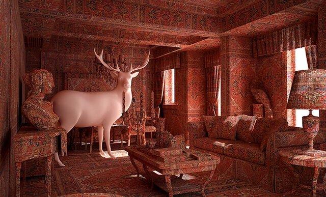 """Deer in the guest room' by Farid Rasulov."