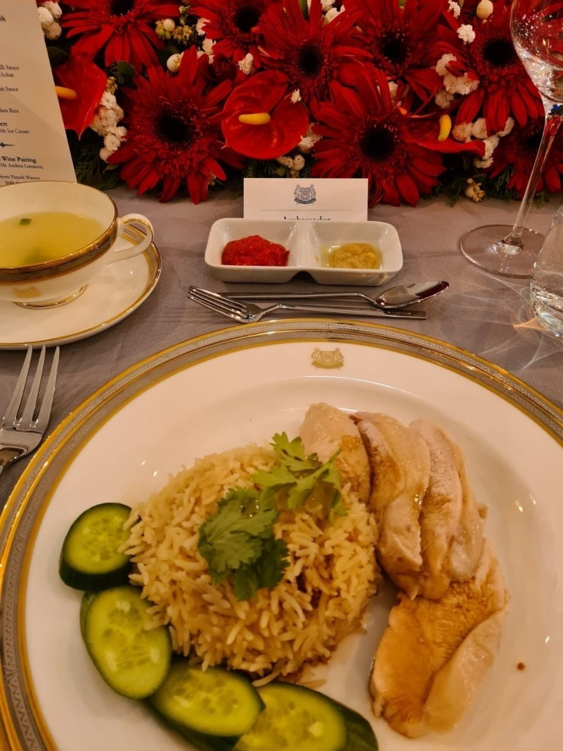 Hainanese Chicken served to the guests at the ambassador's residence in Ankara, Sept.18, 2021 (Courtesy of the embassy)