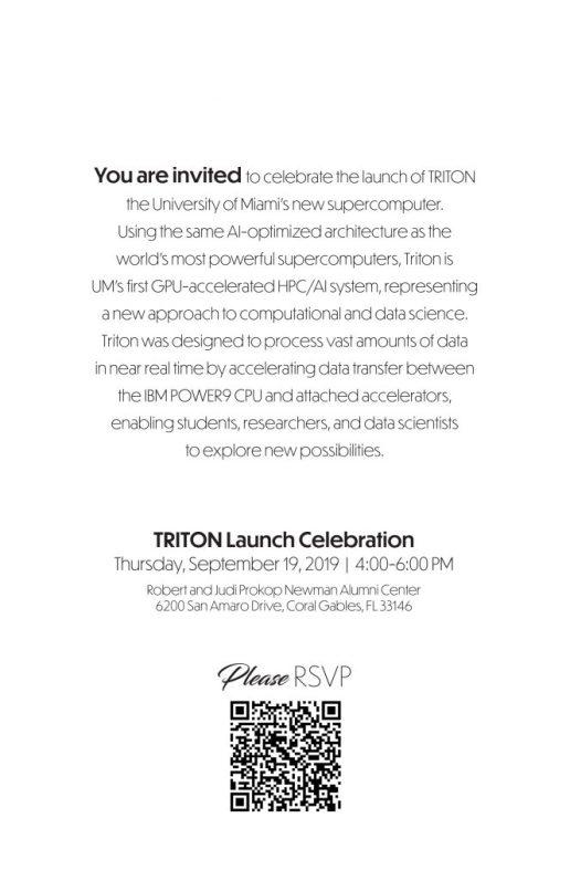 University of Miami TRITON Supercomputer launch event invitation back 2019