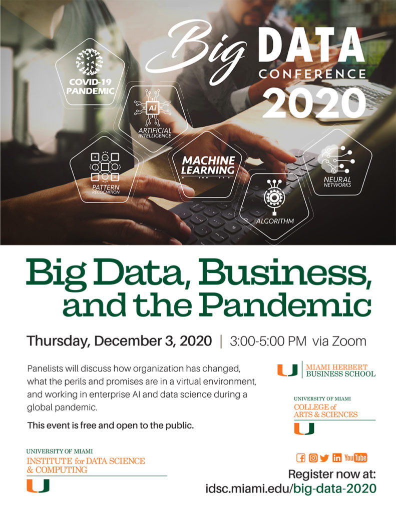 Big Data, Business, and the Pandemic, the Big Data 2020 Conference, University of Miami Institute for Data Science and Computing and Miami Hebert Business School