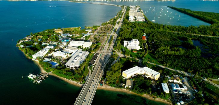 University of Miami launches one-of-a-kind collaboration with NOAA, aerial view of CIMAS building on Virginia Key
