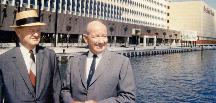 John S. Knight and James L. Knight, Knight Foundation brothers in front of The Miami Herald buidling