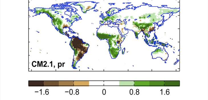 Figure 5 Impact of resolution on precipitation biases in GFDL seasonal prediction models. Atmospheric resolution is (top) approximately 50 km with 32 levels in FLOR and (bottom) approximately 200 km with 24 levels in CM2.1, whereas ocean resolution is approximately 100 km in both models. Higher atmospheric resolution in FLOR reduces precipitation biases in numerous regions including much of the tropics. Annual mean biases over land (mm day‒1) based on 1981–2010 CMAP observations are shown (after Jia et al. 2015). Citation: Bulletin of the American Meteorological Society 101, 6; 10.1175/BAMS-D-19-0037.1
