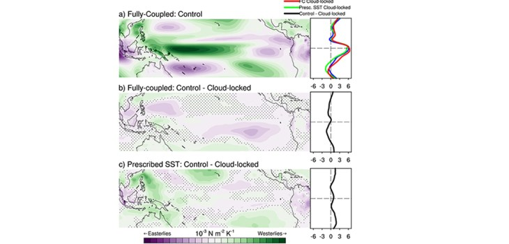 Figure 7 shows the anomalous zonal wind stress regressed on the Niño-3.4 index from the control simulation with CRFBs (Fig. 7a) and then the difference between the cloud-locked pattern from the control pattern to isolate the role of CRFBs