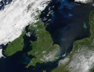 MODIS – Bright turquoise swirls marked phytoplankton blooms in the North and Celtic Seas in mid-June 2017.