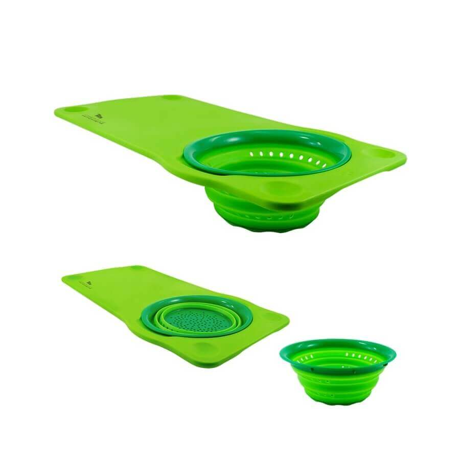 squish over the sink cutting board colander