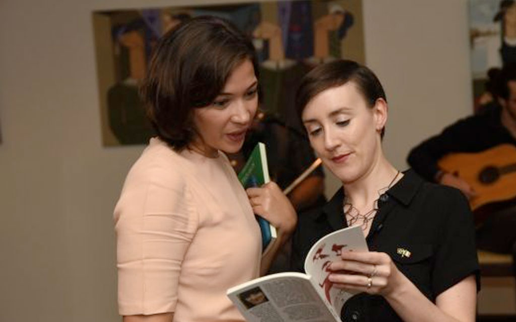 Jessica Traynor gives a poetry reading at the residence of the Irish Ambassador to Brazil in Brasilia in March