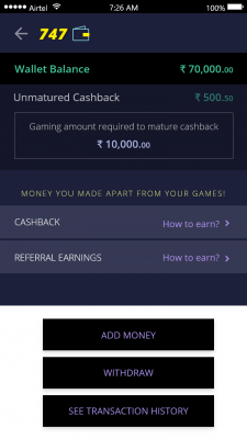 Wallet Screen – No referrals or cash back