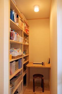 隠れ書斎付き、キッチン裏の食品庫