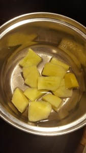 chopped apples in pot