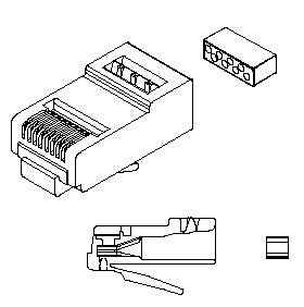 RJ45 8 Position Modular Plug for Solid or Stranded Wire