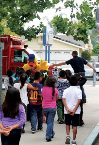 courtesy photo/rusd  Rialto Fire Department helps teach youngsters about water safety through the program Stewie the Duck Learns to Swim.
