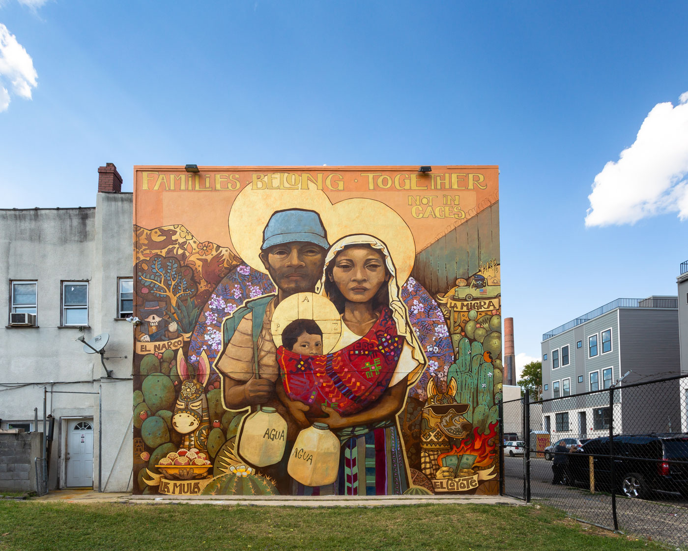 Mural in Philadelphia featuring an immigrant family