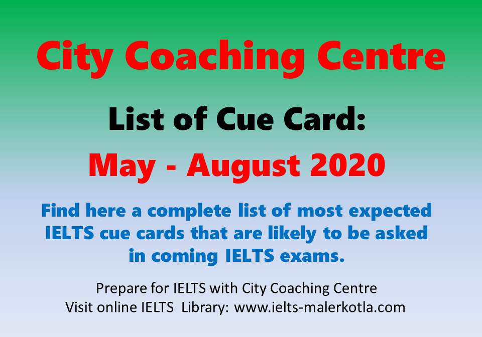 List of Cue Cards May - August 2020