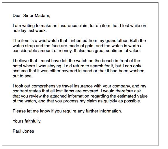 IELTS General Writing 'insurance' Letter Ielts Simon Com