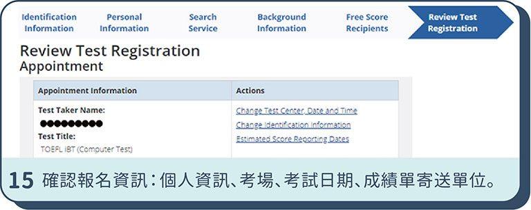 確認TOEFL iBT報名資訊
