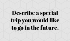 Describe a special trip you would like to go in the future