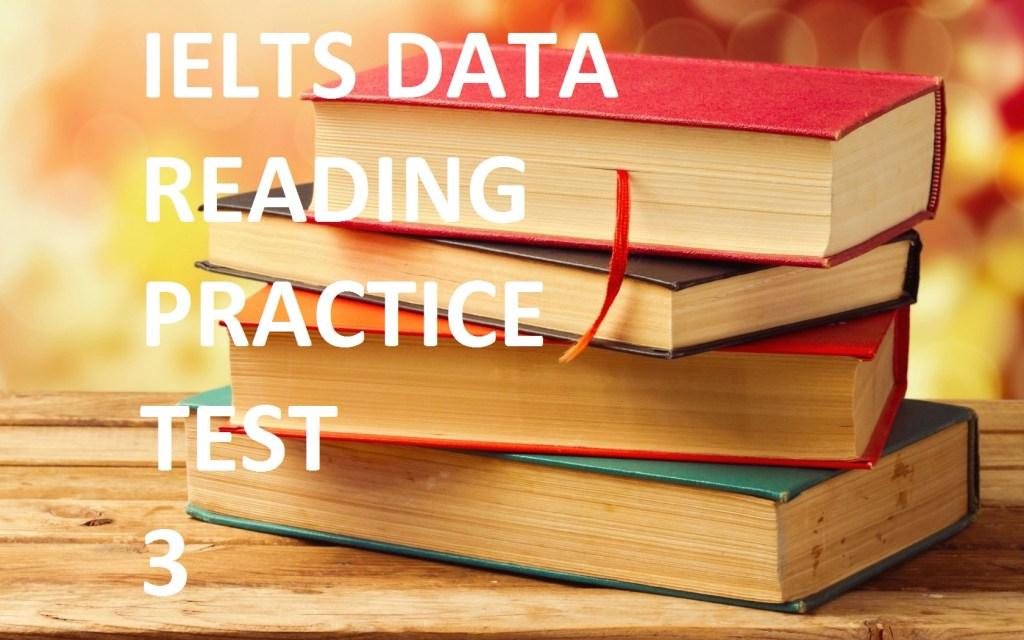 ieltsdata reading practice test 3 E-training recent exam reading