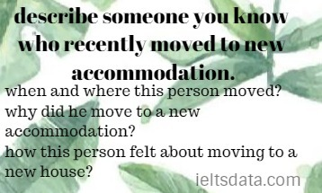 describe someone you know who recently moved to new accommodation.