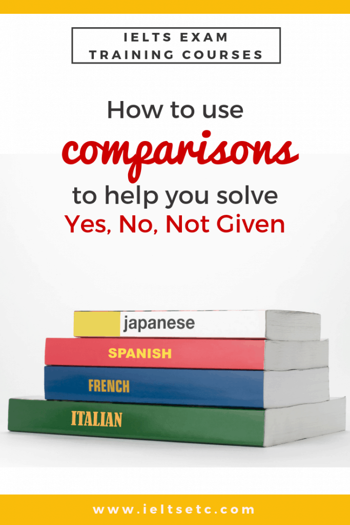 IELTS Reading: How comparisons can help solve Yes. No. Not Given - IELTS with Fiona